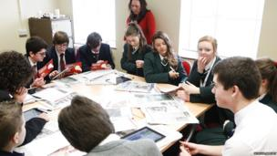 School Reporters from Lisneal College getting ready for their TV bulletin