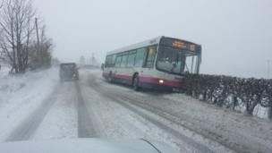 Bus off the road near Glasgow