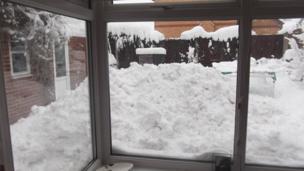 Snow in a back garden in Mold, Flintshire