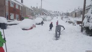 Snow in Mynydd Isa, near Mold