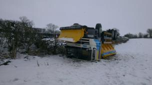 Overturned snow plough. Photo: Graham Parton