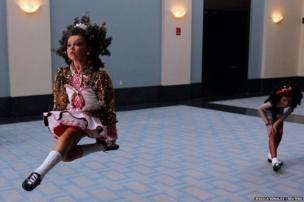 Competitors warm up in the hallway at the World Irish Dancing Championships in Boston, Massachusetts