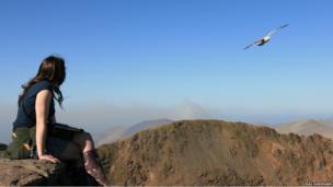 Woman on top of Snowdon