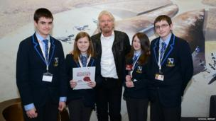Lincoln Castle Academy pose with Richard Branson