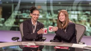 School Reporters clink cups ready for their live News reports