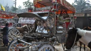 Carriage and horse in Dhaka