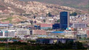 The joint industrial estate of North Korea's border city of Kaesong is seen from an observation post on May 26, 2010