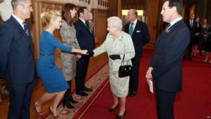 The Queen meeting Carey Mulligan