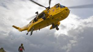 A Sea King helicopter