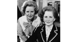 Margaret Thatcher with her Madame Tussaud's waxwork
