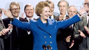 British Prime Minister Margaret Thatcher at the end of the 1989 Conservative Party conference in Blackpool
