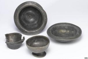 Pewter bowls and cups