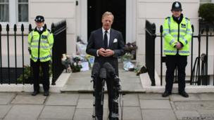 Sir Mark Thatcher speaks to the press outside the home of former British Prime Minister, Baroness Margaret Thatcher in London
