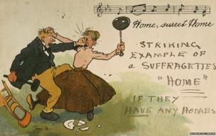 This commercial comic postcard has been annotated with an anti-suffrage message