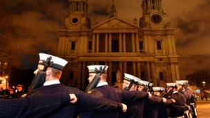 Members of the Royal Navy on the approach to St Paul's Cathedral, during a rehearsal for the funeral of Baroness Thatcher.