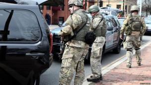 State police near Kenmore Square, Boston, 15 April 2013
