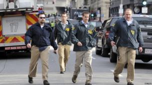 FBI agents at scene of Boston blasts. 15 April 2013