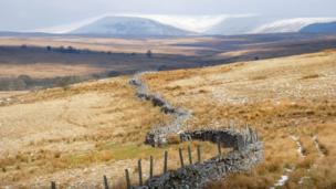 Looking towards the Brecon Beacons from Penderyn, Rhondda, Cynon Taf
