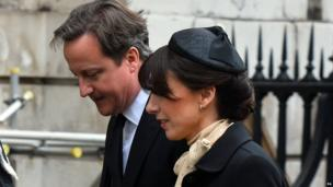 "Prime Minister David Cameron and his wife Samantha arrive for the funeral service of Baroness Thatcher, at St Paul""s Cathedral, central London. Picture date: Wednesday April 17, 2013"