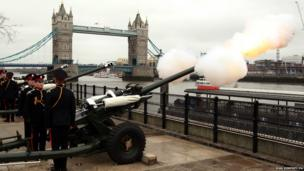 the Honourable Artillery Company fire Processional Minute Guns from in front of Tower Bridge