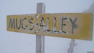 Rime ice on a sign in Glencoe