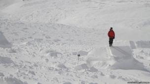 Avalanche debris in Southern Cairngorms