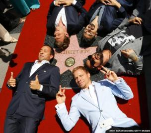 The Backstreet Boys attend the ceremony honouring them with a star on The Hollywood Walk of Fame