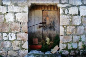 Door of an old abandoned barn
