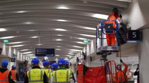 Building work in the new concourse at New Street station