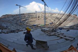 A man works at Maracana stadium in Rio de Janeiro, Brazil on December 4, 2012.
