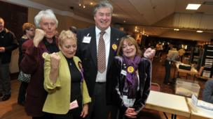 UKIP supporters celebrate with the party's Colin Guyton (second right) who won the Drybrook and Lydbrook seat in on Gloucestershire County Council.