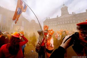 People celebrate in Amsterdam,