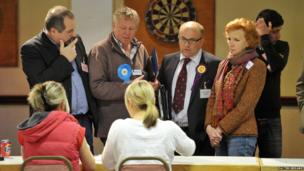 Candidates watch anxiously at the Gloucestershire count