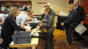 Ballot boxes arriving at the count in Gloucestershire