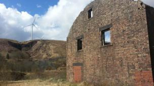 Coal works wind turbines in the Rhondda