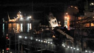 The toppled control tower, of the port of Genoa, northern Italy