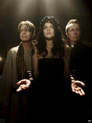 David Bowie, Marion Cotillard and Gary Oldman as they appear in a scene from the new Bowie video, 8 May 2013