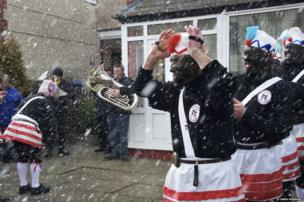 The Britannia Coconutters of Bacup perform their Spring ritual dance, Lancashire