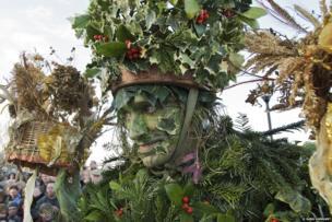 The Hollyman, Plough Monday celebrations, The Lion's Part, Bankside, London
