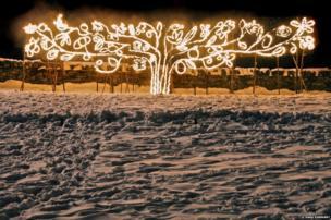 Tree of fire, celebration to mark the beginning of spring, Marsden, Yorkshire