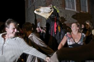 The serpent dance around Penglaz, Mazey Eve, Golowan Festival Penzance, Cornwall