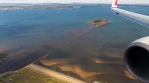 Aerial view of Cramond Island