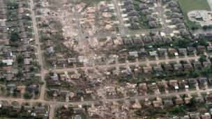 Aerial photo shows the remains of homes hit by a massive tornado in a suburb of Oklahoma City
