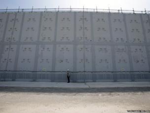 Tsunami defence wall at Japan's Hamaoka Nuclear Power Station