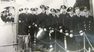 Crew of the SS Rathlin photographed on the gangplank. The Rathlin was the most successful rescue ship during the Arctic convoys