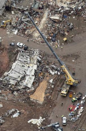 An aerial view of damage at Plaza Towers Elementary School in Moore, Oklahoma, 21 May 2013.