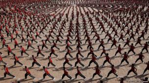 Students train at the Tagou Martial Arts School