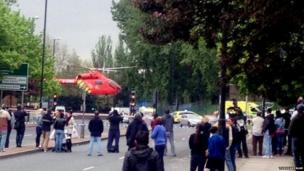 An air ambulance helicopter landing in Woolwich, south London