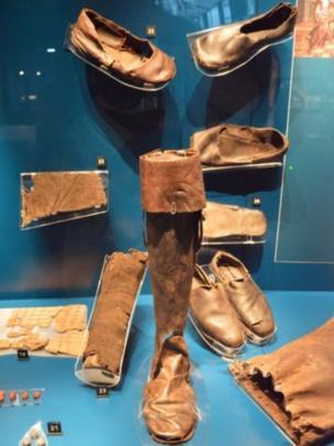 Shoes, a sock and a boot from the Mary Rose