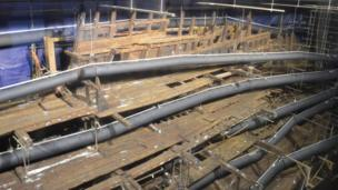The Mary Rose being dried